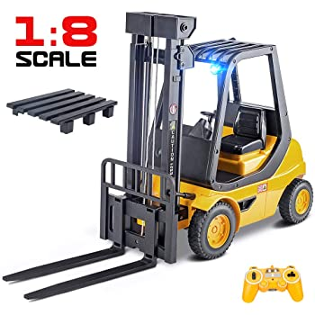 DOUBLE E Remote Control Forklift Truck Toys 1/8 Scale Full Functional Professional RC Forklift Construction Toys Model Toy for Kids with Lights and Pallet