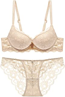 e10368d9381 HUABAN Women Underwire Push Up Sexy Hollow Embroidery Lace Bra Panty  Lingerie Set