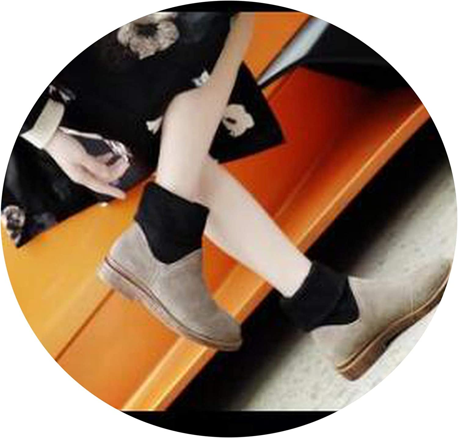 Good-Memories Knitting Sock Boots Woman Yellow Snow Boots Genuine Leather Flats Snow shoes