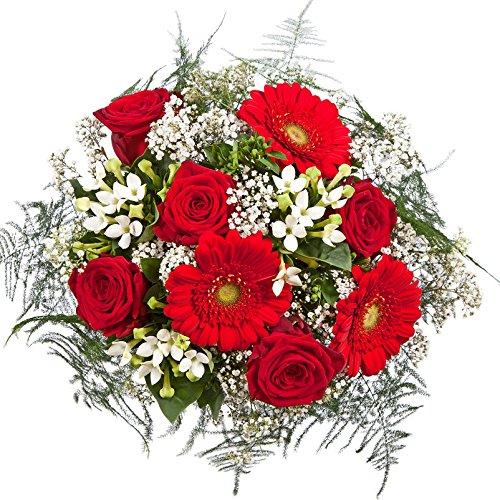 """Kölle Blumenstrauß """"Liebesüberraschung"""" - Ø 28 cm - mit roten und weißen Rosen, Germini, Bouvardien und Schleierkraut - inkl. Schnittblumenfrisch und Pflegetipps"""