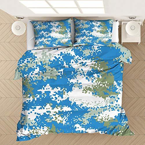 Funda de almohada con funda nórdica con estampado de camuflaje en 3D, cama individual doble tamaño king, dormitorio decorativo, apartamento, ropa de cama suave y cómoda-2_200 * 200 cm (3 piezas)