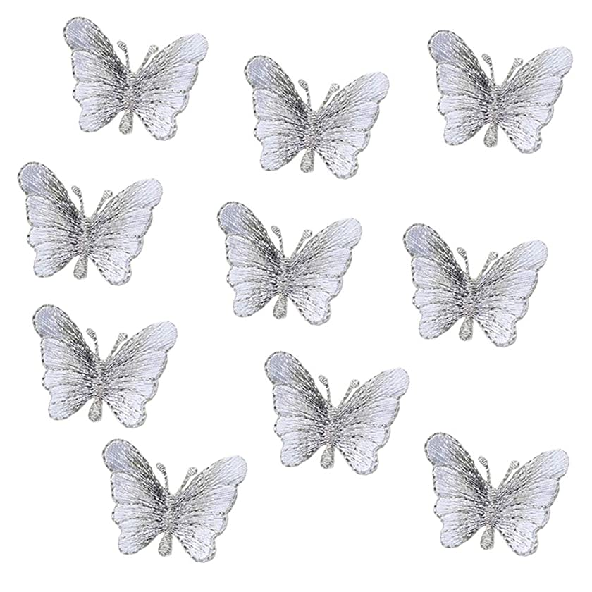 10 Pack Delicate Embroidered Patches, Butterfly Embroidery Patches, Iron On Patches, Sew On Applique Patch, Custom Backpack Patches for Boys, Girls, Kids, Super Cute! … (Silver)