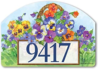Yard DeSigns Studio M Pansy Lane Spring Summer Floral Decorative Address Marker Yard Sign Magnet, Made in USA, Superior Weather Durability, 14 x 10 Inches