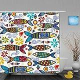 PbbrTK Personalisierter Duschvorhang,Helles & erstaunliches Portugal-Muster von dekorativen Sardinen & grafischen Elementen,wasserabweisender Badvorhang für das Badezimmer 180 x 210 cm