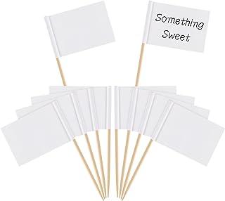 Banderas en Blanco con Palillos de Dientes Marcador de Queso Banderas Blancas de Etiquetas de Marcar para Pastel de Fiesta Comida Plato de Queso Aperitivos(100)