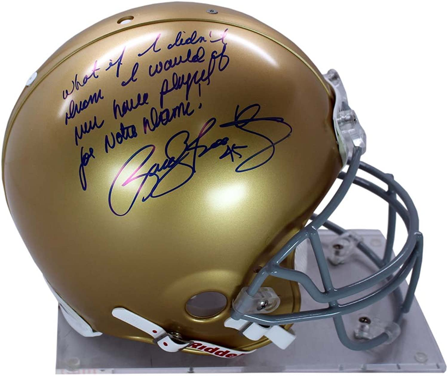 Steiner Sports NCAA Notre Dame Fighting Irish Rudy Ruettiger Signed Authentic Full Size Helmet with What If I Didn't Dream I Would Have Never Played for Notre Dame Inscribed