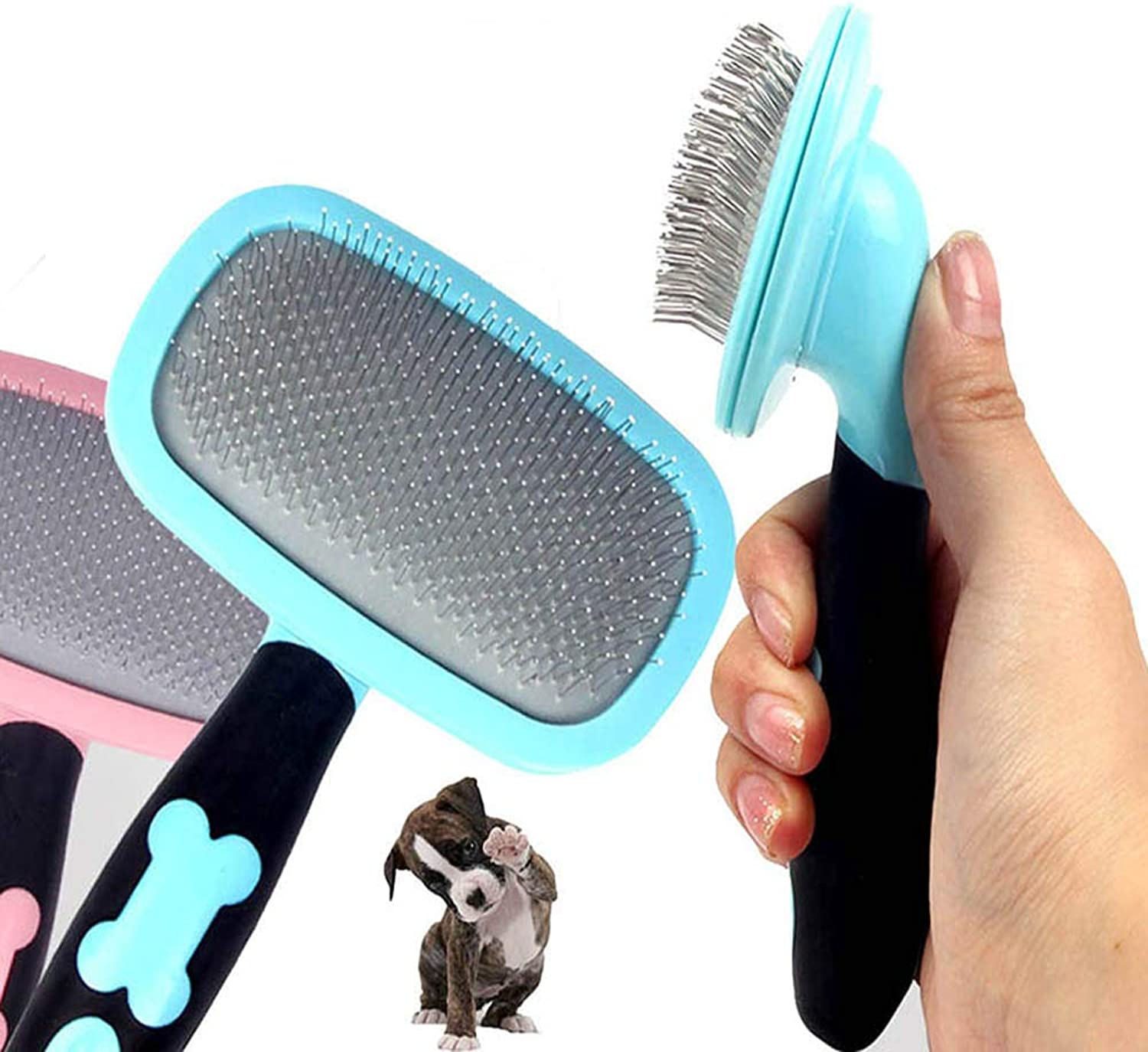 2pcs Grooming Dog Brush, Professional Soft Curved Slicker Brush, 360 Degree redation Flexible Brush Suitable for All Breeds