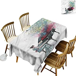 one1love Washable Tablecloth Music Grand Piano Musician Pianist It's Good to be Home Gorgeous High End Quality 54