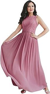 Vestidos de Fiesta Cuello Redondo Encaje Gasa sin Mangas A-línea Corte Imperio para Mujer 07391