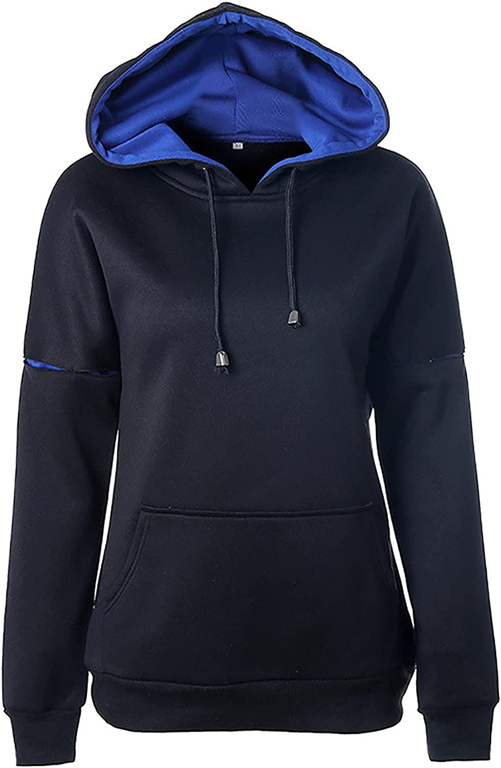 Solid Color Stitching Sleeve Drawstring Hoodies For Women Long Sleeve Sweatshirt Casual Pullover Tops With Pockets