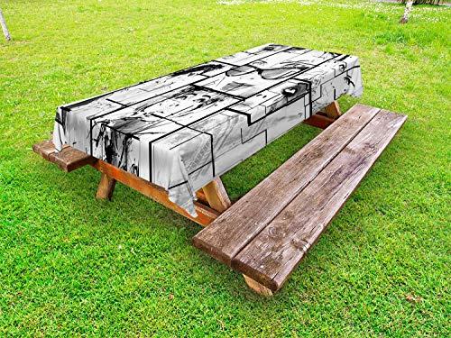 ABAKUHAUS Tour Eiffel Nappe Extérieure, Moderne Paris Fille, Nappe de Table de Pique-Nique Lavable et Décorative, 145 cm x 305 cm, Noir Blanc Gris
