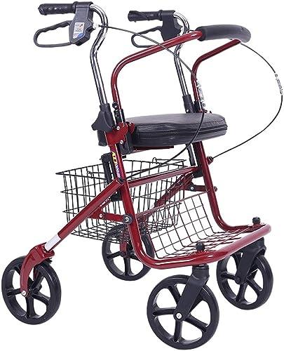 Yunteng-Béquilles Marchette de déambulateur Pliante légère à Quatre Roues avec siège rembourré Chariot Pliable pour Chariot de magasinage avec poignées ergonomiques verrouillables