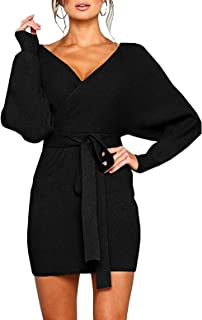 Women's Sexy Cocktail Batwing Long Sleeve Backless Mock...