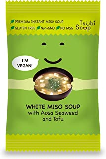 Tsubi Miso Soup FREEZE DRIED, VEGAN INSTANT SOUP, LOW CARB NON-GMO GLUTEN FREE NO MSG, 6 oz Servings (White Miso w/Seaweed...