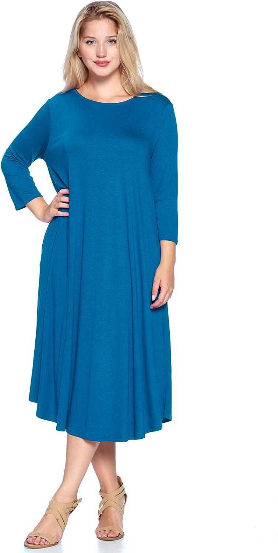 Modern Kiwi Women's Plus Size Solid 3/4 Sleeve Pocket Curve Hem Midi Maxi Dress (1X-4X) Made in USA