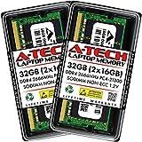 A-Tech 32GB (2x16GB) DDR4 2666MHz SODIMM PC4-21300 Non-ECC CL19 1.2V 260-Pin SO-DIMM Laptop Notebook Computer RAM Memory Upgrade Kit