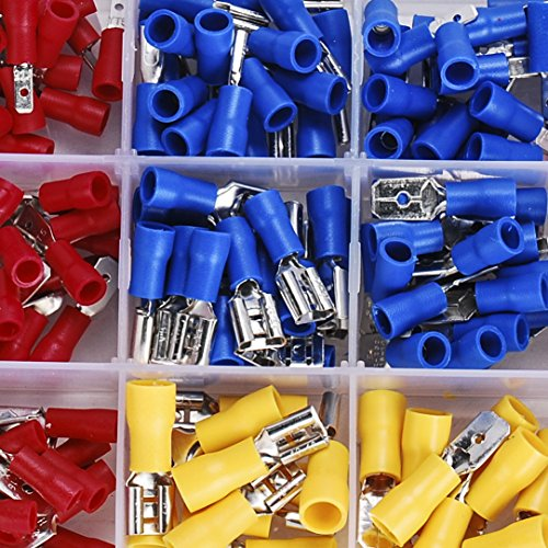 Eagles 280pcs Wire Terminal Crimp connectors,Small Wire Crimp Electrical connectors Insulated Spade Set,Color Red Yellow Blue, 16 Types 22-10 AWG US and EU Standard Copper PVC Tinplate