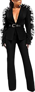 AMELIYA Womens Deep V Neck 2 Piece Outfits-Mesh Patchwork Long Sleeve Blazer Jacket Wide Leg Long Pants Suits Set