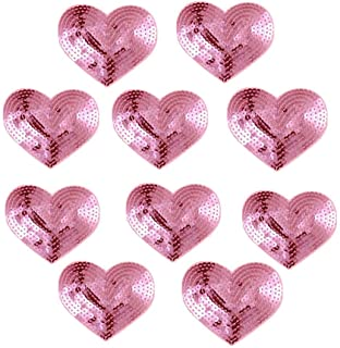 Ximkee Pack of 10 Shiny Heart Sequins Iron on Applique Embroidered Patches-Pink