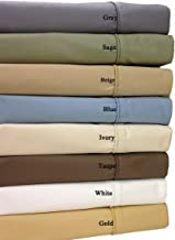 Royal Hotel 650-Thread-Count Bed Sheets - Wrinkle Free Sheets - Super Deep Pocket Up to 22-Inch, Cotton Blend, Sateen Sheets, Hypoallergenic, 4 Piece - King - Sage