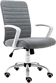 TWDYC كرسي مكتب منزلي، كرسي مكتب رمادي، كرسي كمبيوتر منجد مريح، كرسي دوار قابل للتعديل، أثاث مكتب منزلي