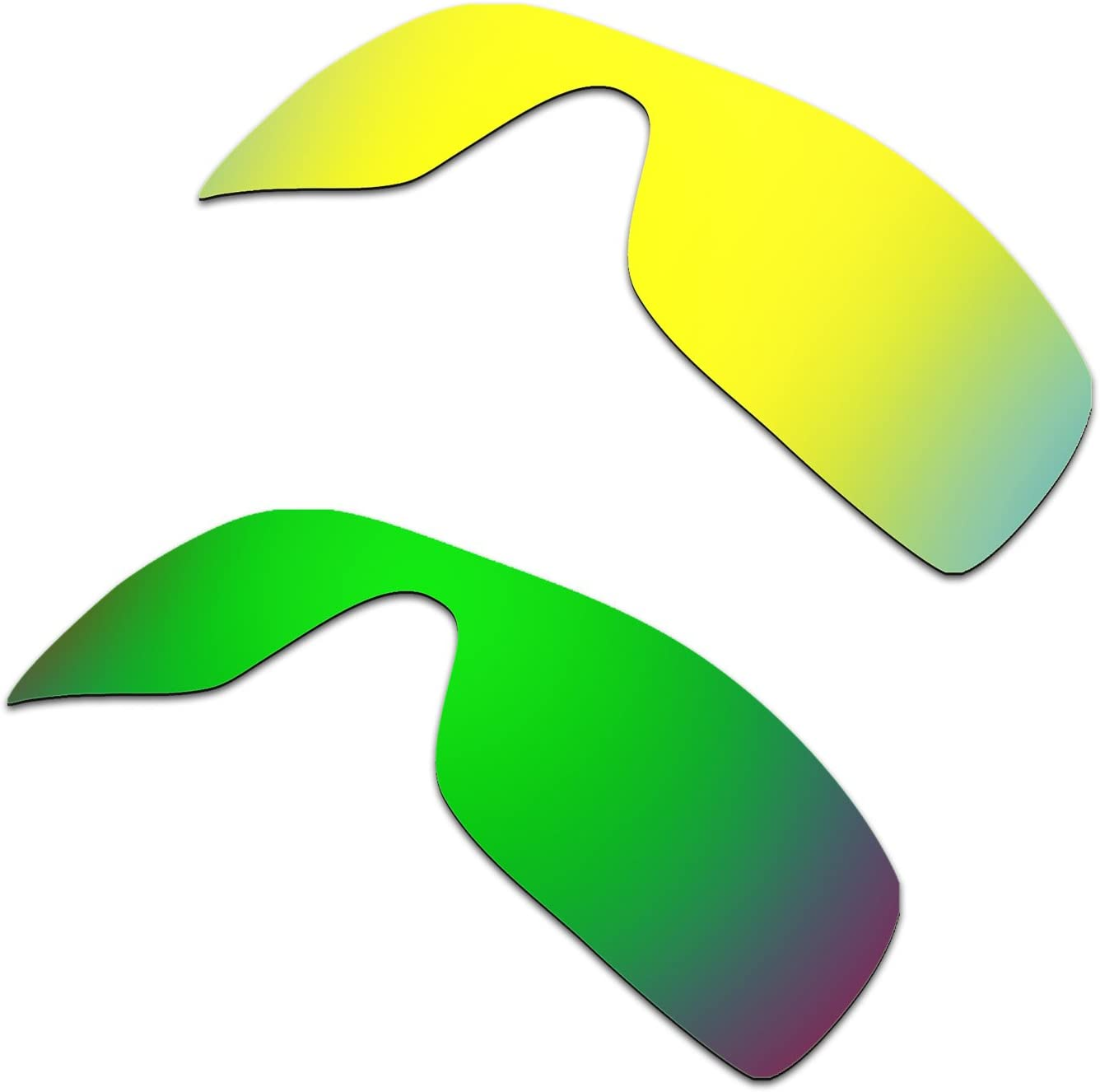 HKUCO Mens Replacement Lenses for Oakley Batwolf Sunglasses 24k Gold/Emerald Green