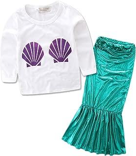 Princess Girls Sequins Costume Long Sleeve T-Shirt+Dress Outfits