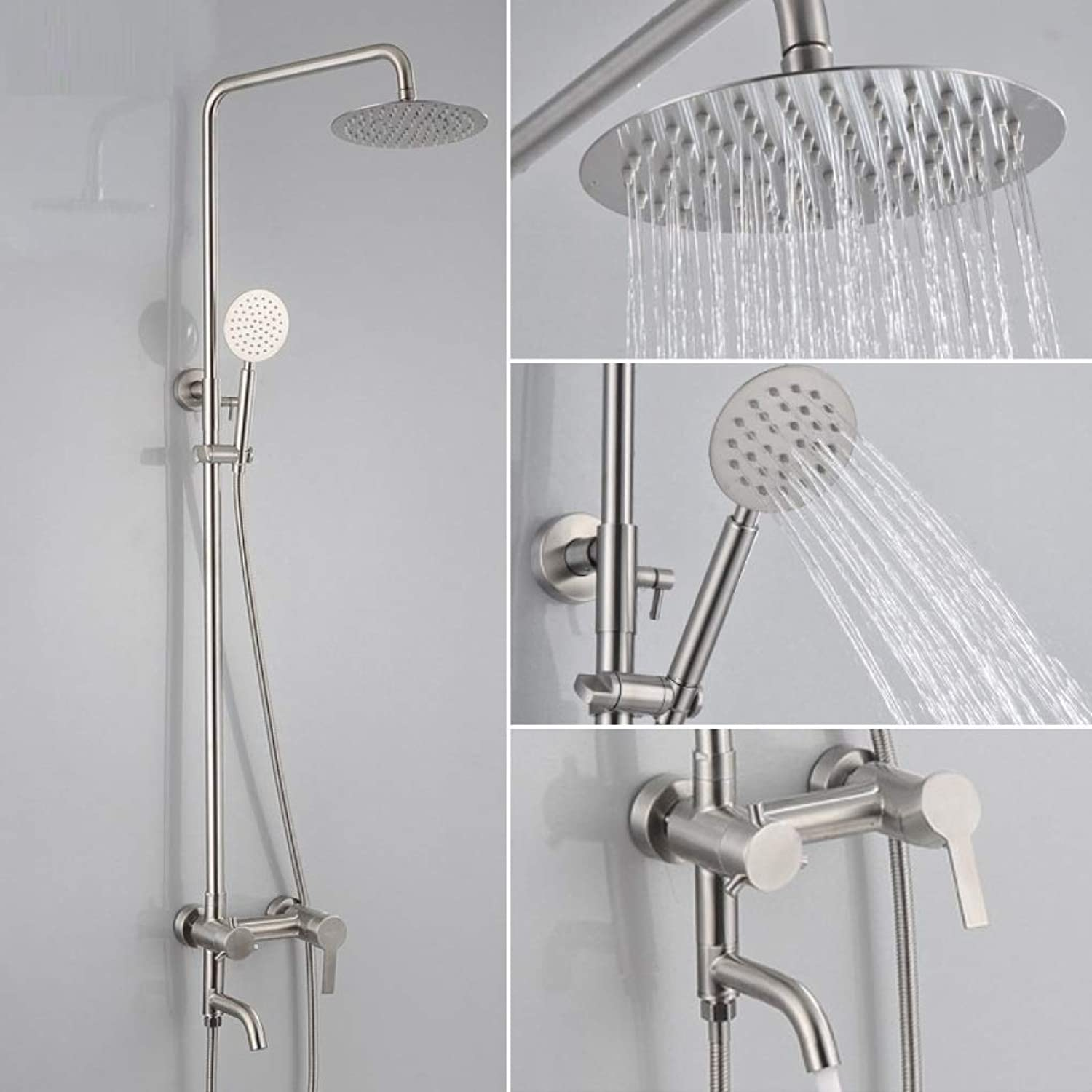 Shower Faucet, Holder for Luxury Bathroom Shower Set-Adjustable Shower-Wall Mounted Rainfall Shower Head Systems-Stainless steel shower,B