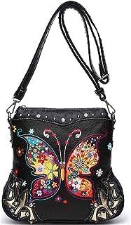 Damen-Handtasche mit Schmetterlings-/Blumendesign, verdeckt, mit Strass, Crossbody-Tasche