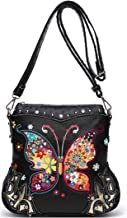 Butterfly Flower Concealed Carry Purse Women Spring Rhinestone Crossbody Handbags Single Shoulder Bag