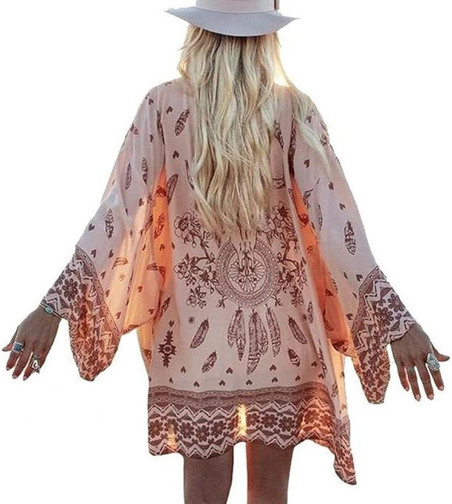 Women's Cardigan Tops Pattern Printed Beach Bikini Dress Capes Wrap, Boho Chiffon Kimono Cover-ups