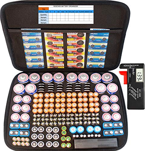Large Battery Organizer Storage case with Digital Battery Tester, 240+ C, D, AA, AAA, AAAA, CR123A, 18650, 4LR44, 9V, A23 Battery Organization Box(no Battery)