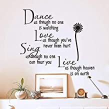 xcdfr Wall Stickers Dance As If Nobody is Watching The Love Quote Wall Decals Wall Sticker Removable PVC Wall Stickers Home Decor Bedroom DIY Wall Art70X25Cm