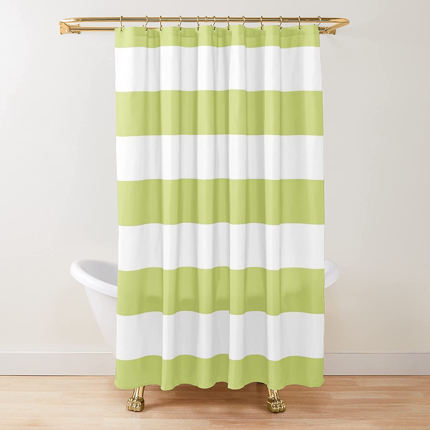 Lime Stripe Max 50% OFF Fabric Shower lowest price Curtains C Customize Bathroom Printed