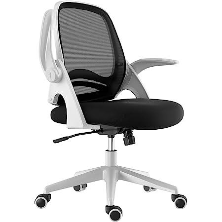 Hbada オフィスチェア デスクチェア 椅子 跳ね上げ式アームレスト ランバーサポート メッシュ ホワイト 約105度ロッキング 通気性 360度回転 座面昇降 強化ナイロン樹脂ベース 静音PUキャスター