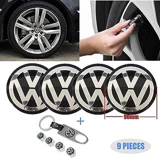 Fast & Furious 4PCS 90mm Car Wheel Center Hub Caps Emblem Sticker for Volkswagen, 4PCS Car Tire Valve Air Caps and 1PC Key Chain Fit for Volkswagen Vehicle