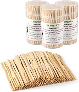 Bamboo Forks 3.5 Inch, Mini Food Picks for Party, Banquet, Buffet, Catering, and Daily Life. Two Prongs - Blunt End Toothp...