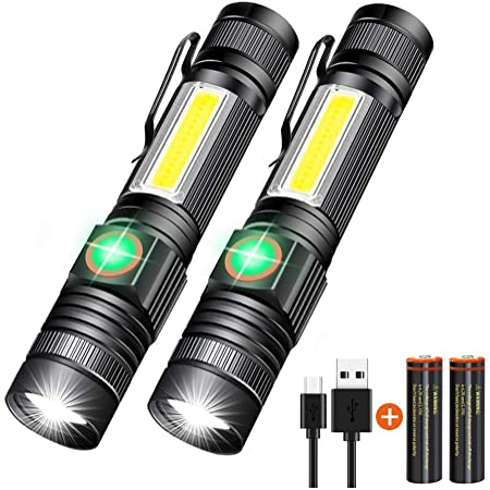 LED Torch Flashlight Lamp Rechargeable Battery Zoomable Set Camping Hiking Light