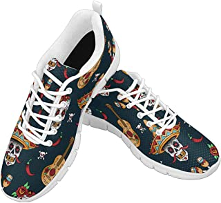 Zenzzle Womens Running Shoes Mexican Sugar Skulls with Chili Peppers Print on Casual Lightweight Athletic Sneakers Size US6-12