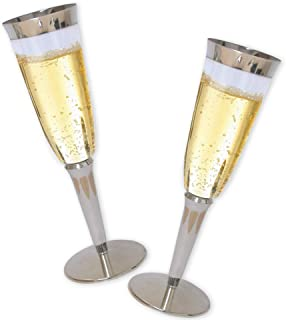 High Quality Hard Plastic Champagne Flutes With Silver Rim And Base. 6 Ounce Capacity, Set of 16 Disposable Glass Drinkware.