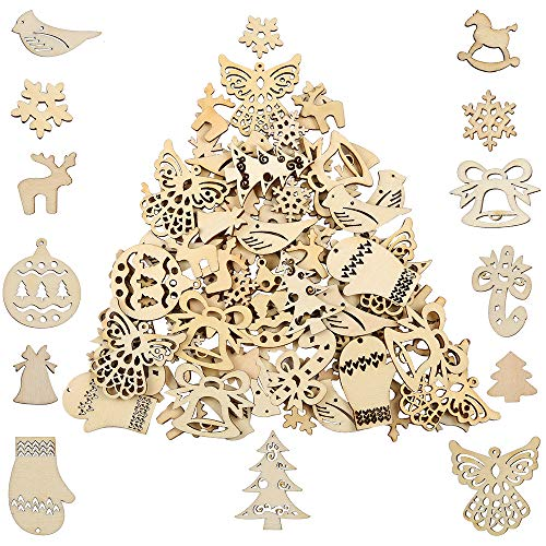 Pllieay 100 Pieces Mix Different Shapes Small Handmade Wooden Slices Christmas Series Embellishments Ornaments for DIY Party Craft, Card Making and Christmas Decorations