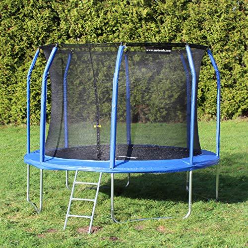 Mobondo Gartentrampolin, Trampolin-Komplettset inkl. Sprungmatte, Sicherheitsnetz und Leiter, bogenförmige Netzpfosten, gepolstert, Ø 244 cm