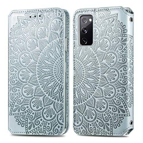 KKEIKO Hülle für Galaxy S20 FE/Galaxy S20 Lite, PU Leder Brieftasche Schutzhülle für Samsung Galaxy S20 FE/Galaxy S20 Lite, Prägung Klapphülle mit Kartenfächer & Stand Funktion - Grau