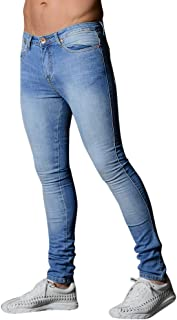 Qootent Men's Solid Color Tight Jeans Denim Pants Casual Long Straight Trousers