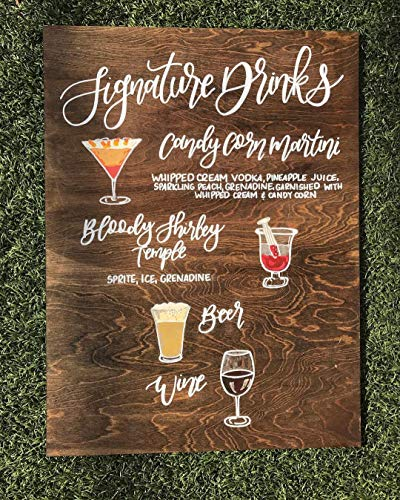 Ced454sy Signature drank teken handtekening cocktail teken houten cocktail teken drink menu teken bruiloft dranken teken alcohol bord barbord
