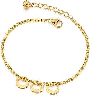 COOLSTEELANDBEYOND Colore Oro Due Ranghi Acciaio Inossidabile Cavigliera da Donna con Cerchi e Campana