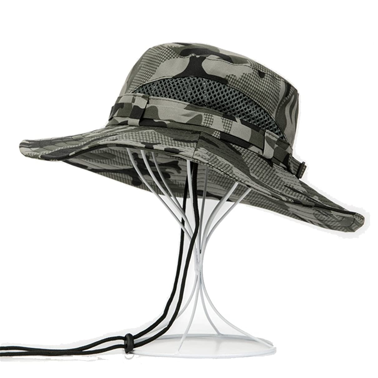 Leories Outdoor Hat UV Protecting Camping Hat Sun Hat Fishing Cap Wide Brim Bucket Hat with String