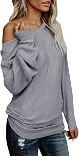 WOCACHI Womens Off Shoulder Sweater Pullover Solid Color Loose Blouse Sweatshirt