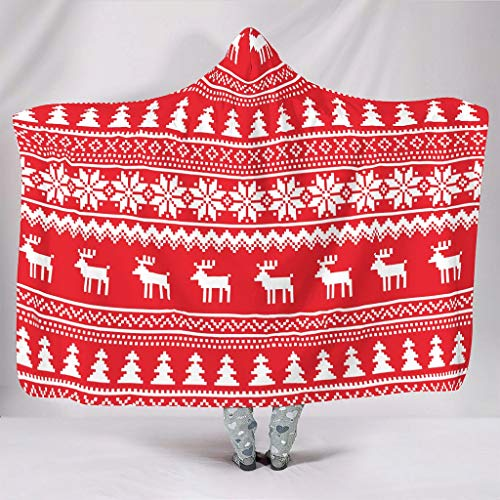 Nanlili Large Hooded Blanket Christmas elk Fleece Warm Cozy Hat Blanket - Wearable Blanket for Winter Study white3 60x80 inch