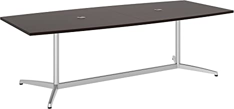 Bush Business Furniture 99TBM96MRSVK Boat Shaped Conference Table with Metal Base, 96W x 42D, Mocha Cherry